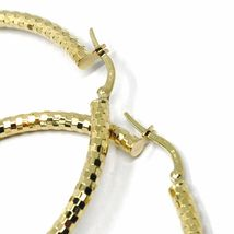18K YELLOW GOLD CIRCLE HOOPS TUBE 3mm, BIG EARRINGS 5.5cm, SHINY FACETED SQUARES image 4