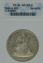 1860 S Seated Liberty circulated silver half dollar ANACS EF 40 details ... - $210.00