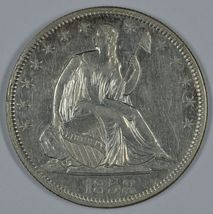 1858 Seated Liberty circulated silver half dollar VF+ details Rim Cud on... - $190.00