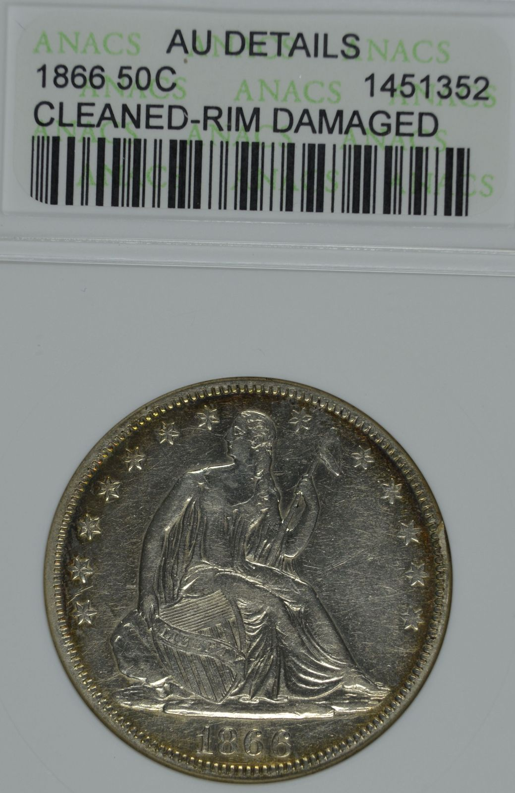 Primary image for 1866 Seated Liberty circulated silver half dollar ANACS AU details Cleaned