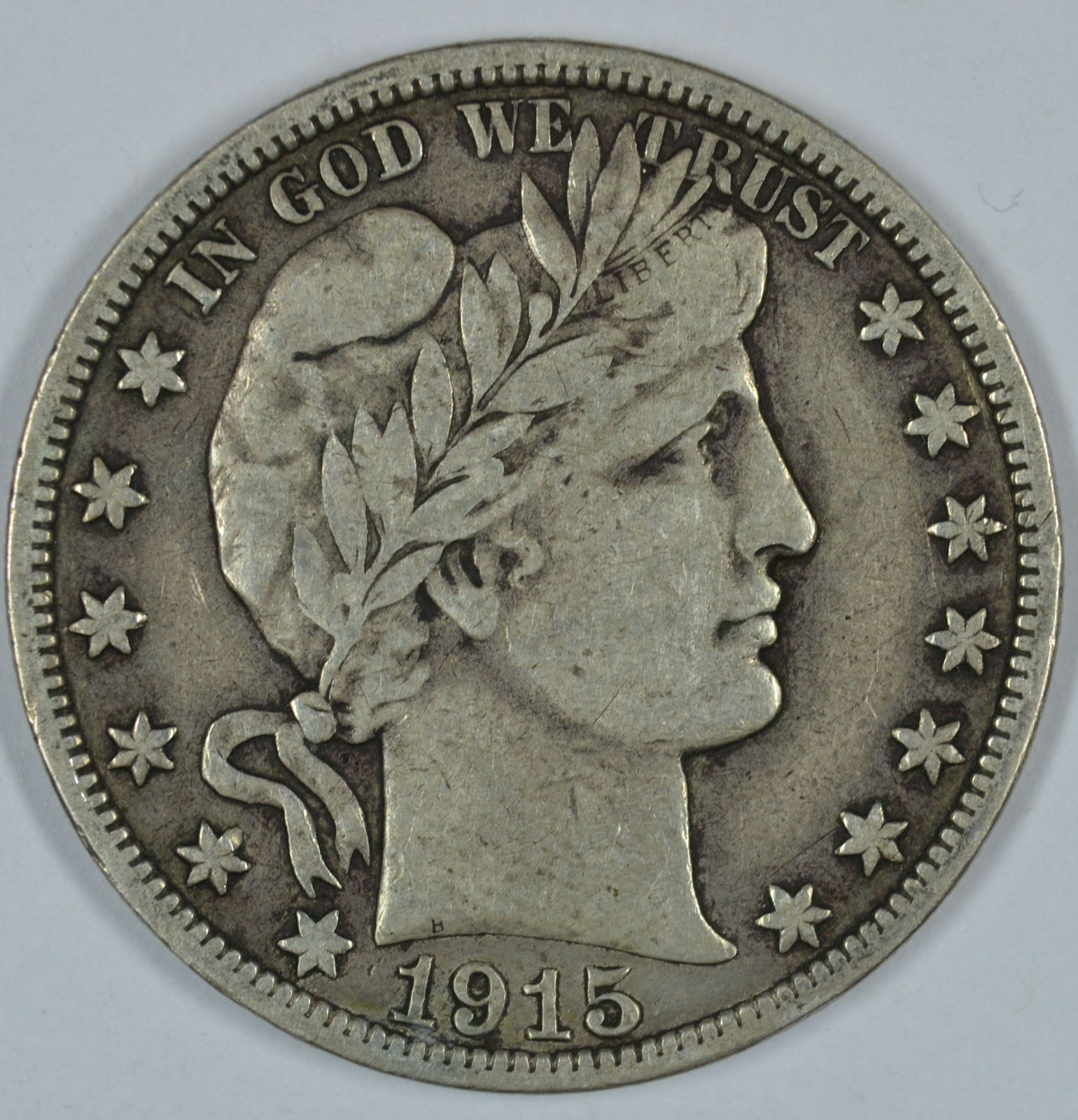 Primary image for 1915 S Barber circulated silver half VF details