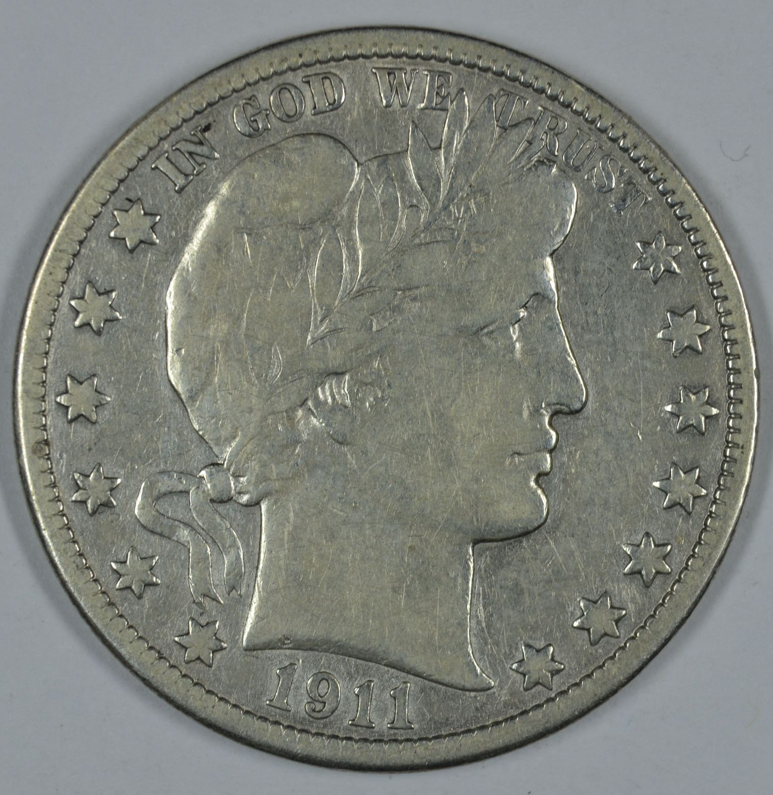 Primary image for 1911 P Barber circulated silver half F details