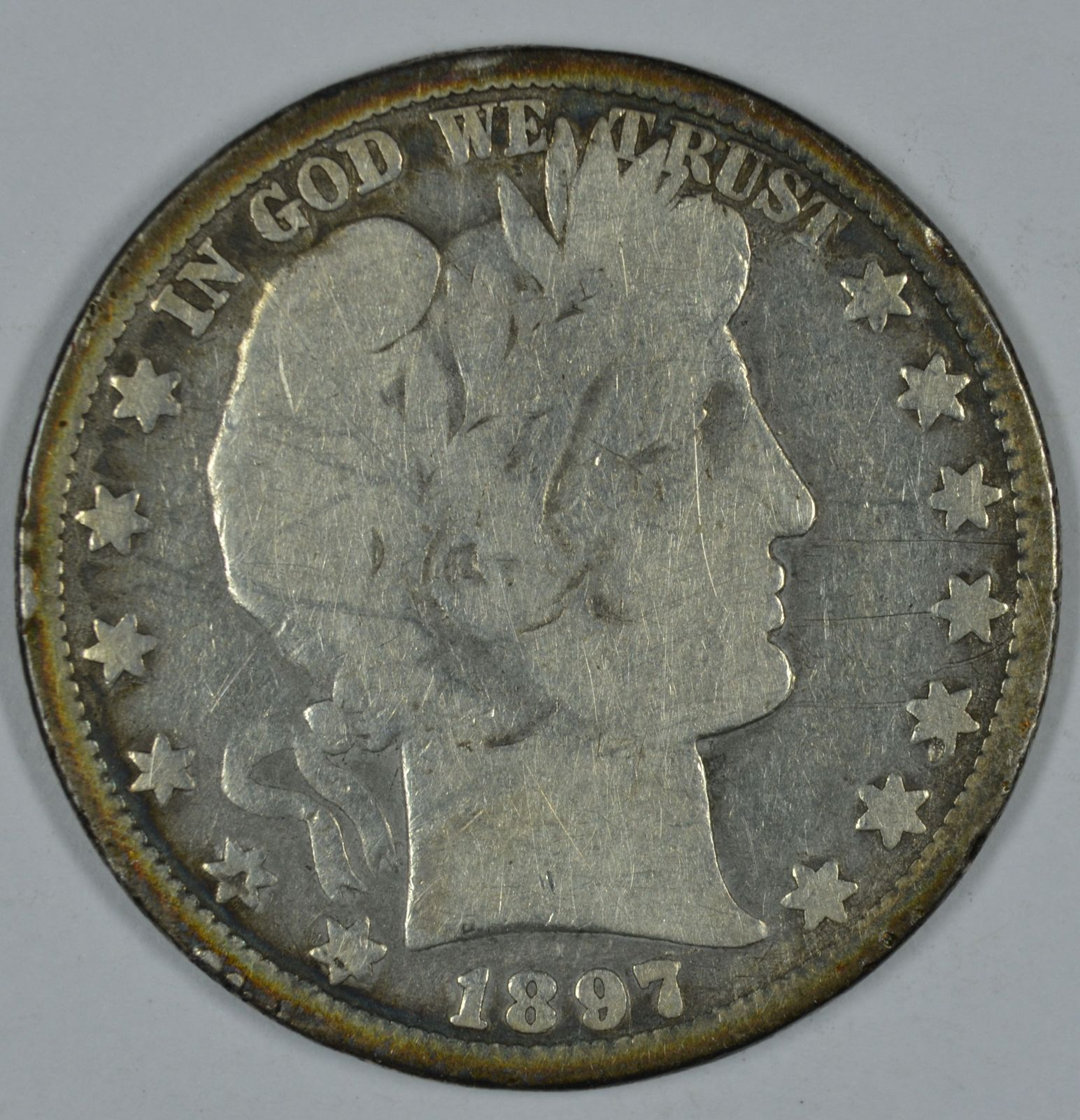 Primary image for 1897 O Barber circulated silver half G details with damage obverse & reverse