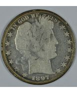 1897 O Barber circulated silver half G details with damage obverse & rev... - $90.00