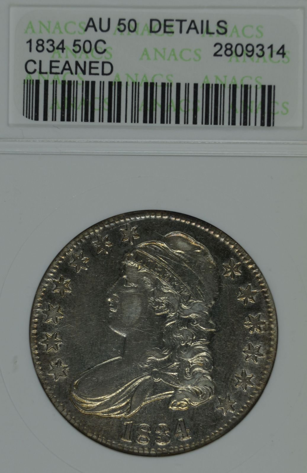 Primary image for 1834 Capped Bust circulated silver half dollar ANACS AU 50 details Cleaned