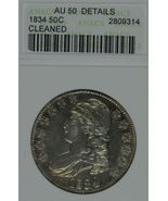 1834 Capped Bust circulated silver half dollar ANACS AU 50 details Cleaned - $175.00
