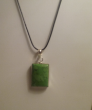 Genuine Green Turquoise Pendant On Black Cord - $8.50