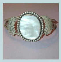 Vintage White Mother of Pearl Shell Sterling Silver Cuff Bracelet - $32.99