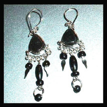 Pair of Silver and Black Glass Beaded Chandelier Dangle Earrings - $24.99