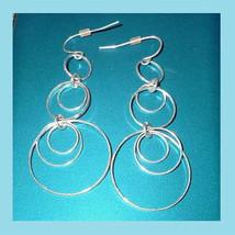 Sterling Silver 3 Ring Circle Dangle Chandelier Hook Earrings - $24.99