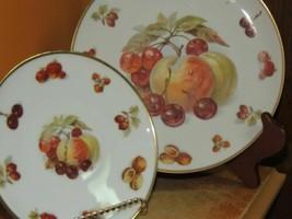 "Winterling Bavaria Plate 7.75"" & Saucer Germany Peach Fruit Nut Gold Harvest - $12.59"