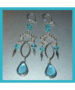 Pair of Silver & Teal Blue Glass Beaded Chandelier Dangle Earrings - $24.99