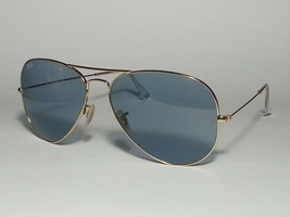 Ray-Ban Aviator Sunglasses Blue Lens Gold Tone Metal Frame RB3025 Italy - $145.50