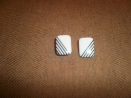 White  Earrings with Black Stripes  - $1.00
