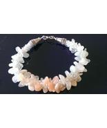 "Handmade Designer Bracelet Moonstone white and peach nugget beads  7""  - $29.99"