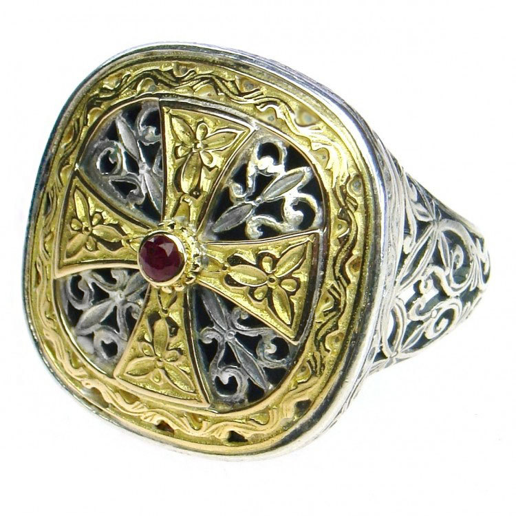 Primary image for  Gerochristo 2499 - Gold, Silver & Ruby -Medieval-Byzantine Cross Ring  / size 7
