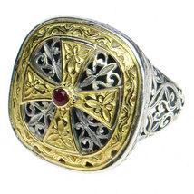 Gerochristo 2499 - Gold, Silver & Ruby -Medieval-Byzantine Cross Ring  ... - $880.00