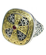 Gerochristo 2499 - Gold, Silver & Ruby -Medieval-Byzantine Cross Ring  ... - $880.00