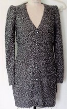 NEW H&M ACRYLIC WOOL CHARCOAL GRAY BOUCLE SWEATER DRESS CARDIGAN L - $49.45