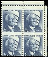 1280, FRANK LLOYD WRIGHT MISPERFED BLOCK OF FOUR ERROR - $26.96