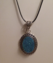 Genuine Blue Druzy Pendant On Black Cord - $12.99