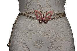 Women Gold Fashion Belt Hip High Waist Metal Chains Pink Butterfly Charm... - $18.60