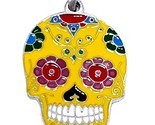 Skull Candy Pendant Mexican Day of the Dead Enamelled Bead Tie Cord Necklace UK
