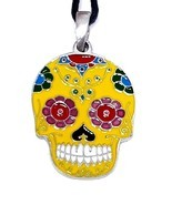 Skull Candy Pendant Mexican Day of the Dead Enamelled Bead Tie Cord Neck... - £16.60 GBP