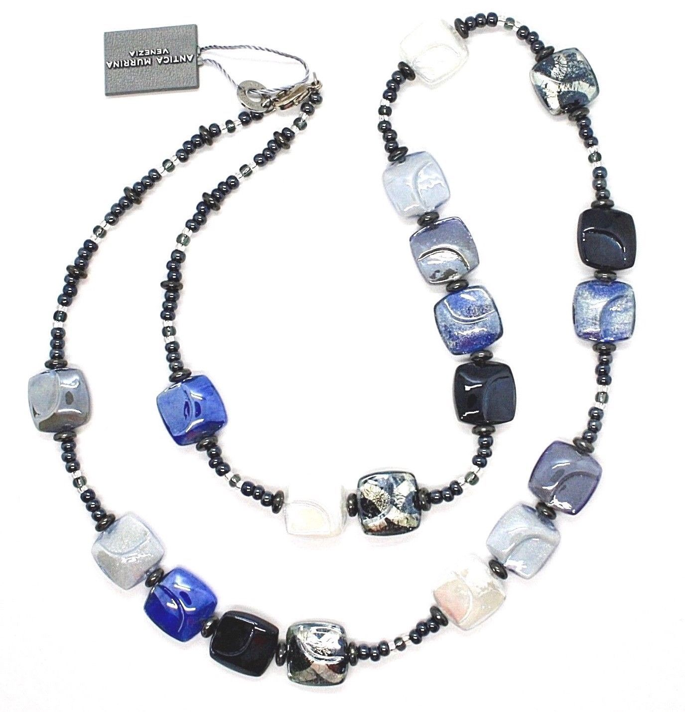 NECKLACE ANTICA MURRINA VENEZIA WITH MURANO GLASS BLUE GREY LIGHT BLUE CO987A06
