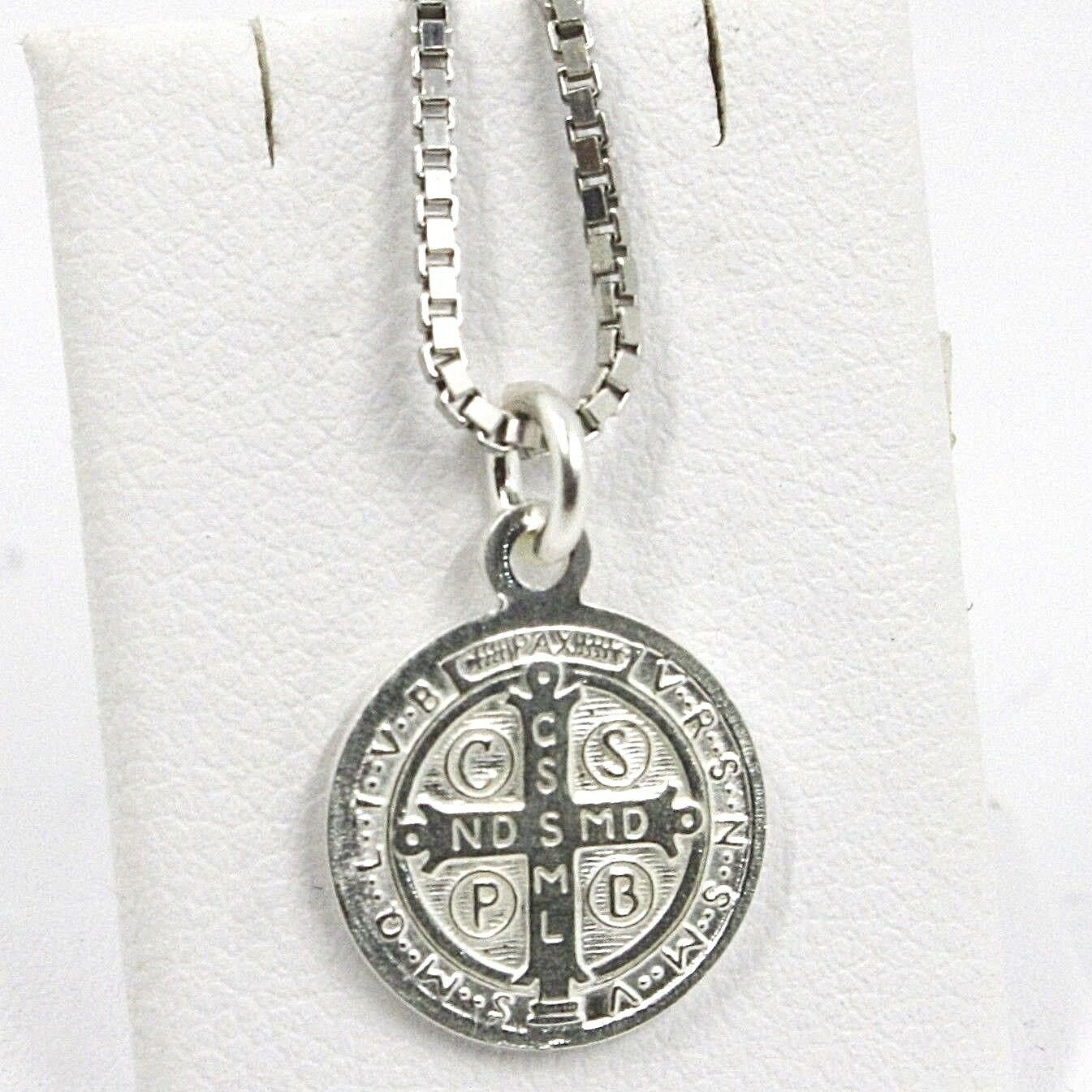 Venetian Chain 50 CM, MEDAL ST. BENEDICT, CROSS, SILVER 925 necklace
