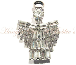 Angel Pin Brooch Baguette Round Clear Crystal Silvertone Metal Spiritual... - $12.99