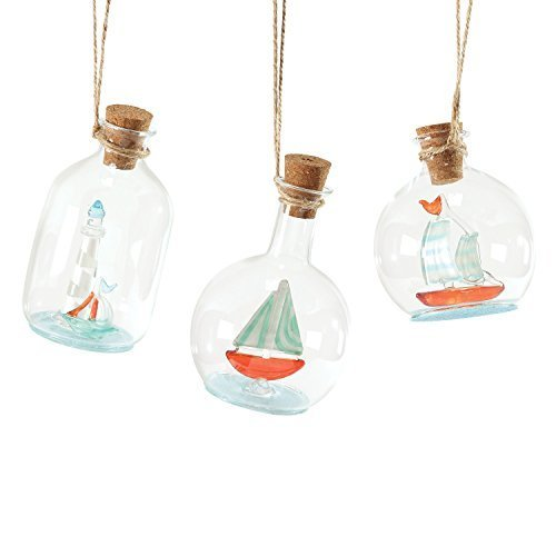 Department 56 Gone to The Beach Glass Ship in Bottle Ornament [Misc.]