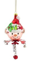 Elf in Hat Glass Ornament with Jingle Bell Collar [Kitchen]