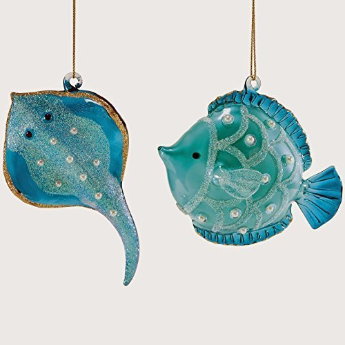 Department 56 Pearl Ray and Fish Ornament Set (Set of 2) #4047112