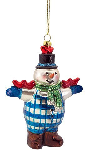 Snowman Glass Ornament with Red Cardinals Resting [Kitchen]
