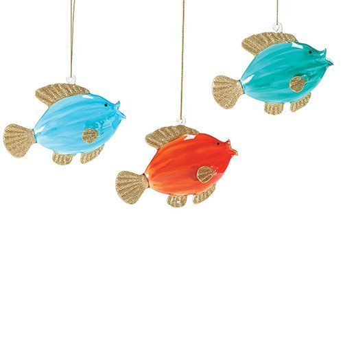 Department 56 Glass Fish Ornament Set (Set of 3) #4047126