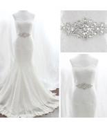 White Ribbon  Wedding Dress Rhinestone Vintage Beaded Crystal Sash Bride... - $22.00