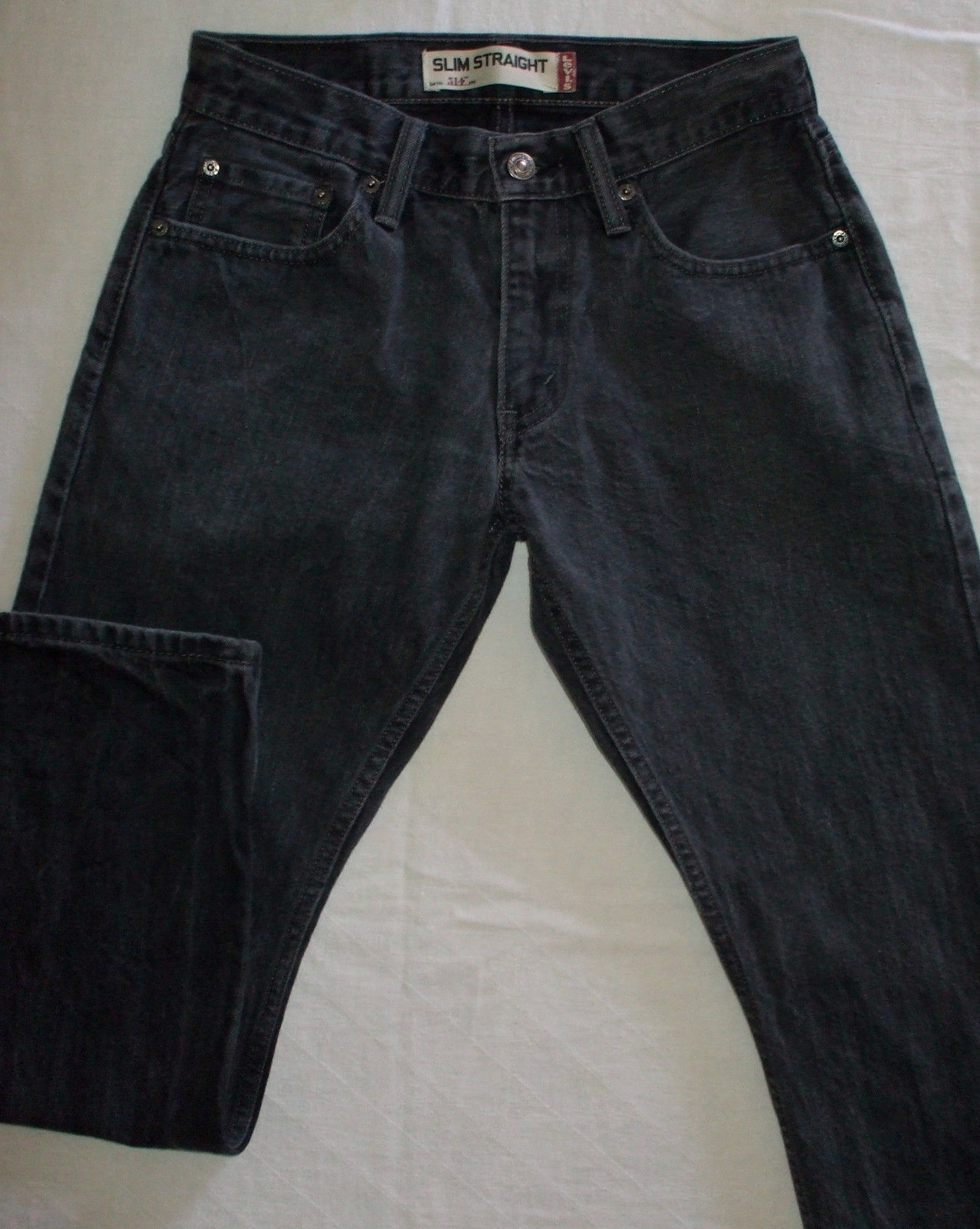 Levis 514 Black Washed Denim Jeans Red Tab Zip Silver Rivets Slim Straight 28x28