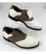 Vtg. Dexter Wedgewood Soft Spike Golf Shoes Saddle Oxford White Brown Me... - $28.65