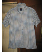 Dickies Button-Down Blue Tan White Stripped Mens Short Sleeve SIZE: LARGE - $19.99