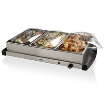 NEW Silver Buffet Server Stainless Steel 3 Pans... - $63.31
