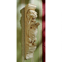 Medieval Gothic Antique Replica Lion and Shield Royal Beast Wall Sculptu... - $118.75