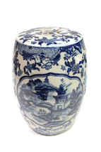 """Beautiful Blue and White Blue Willow Miniature Porcelain Garden Stool 8.5"""" - $98.99"""