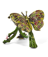 Non Metal Bejeweled Bella Butterfly & Pink Orchid Trinket Box (Length=2.... - $47.31