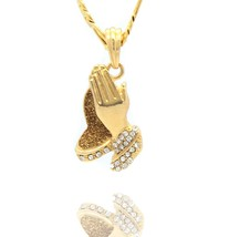 "Mens Gold Plated Stardust Prayer hands 6 God Medal Pendant 24"" Figaro Chain - $14.84"