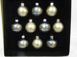 Christmas MINI Glass Royal Blue Gold Ornaments Decor 1.5 BOX of 10 - $19.99