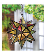 """Hanging Star Candle Lantern Multi-Color Moroccan Style 14"""" High Lot of 3 - $121.95"""