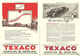Vintage 2 Page Magazine Ads Texaco Gasoline 1923 & 1924 Motor Oil - $8.90