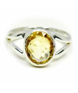 Natural Yellow Citrine Silver Ring Women Cut 5 Carat Size K,L,M,N,O,P,Q,... - $39.88