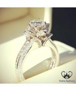Diamond 10k White Gold Over Pure 925 Silver Women's Engagement Lotus Flo... - $59.99